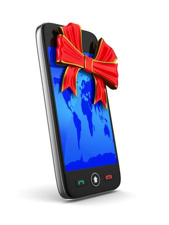 phone on white background. Isolated 3D image photo