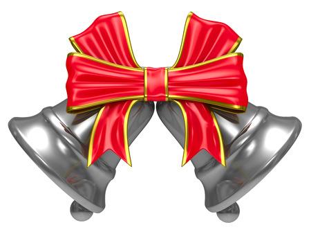 campanas: Dos campanilla de plata sobre fondo blanco. Aislado de la imagen 3D