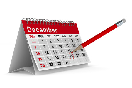 calendario diciembre: 25 de diciembre. Aislado de la imagen 3D