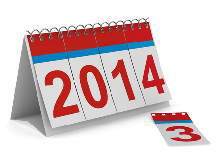 2014 year calendar on white backgroung. Isolated 3D image photo