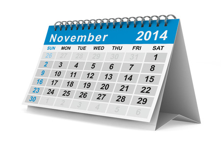 2014 year calendar. November. Isolated 3D image photo