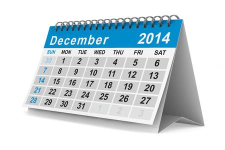 december kalender: 2014 jaar kalender. December. Geà ¯ soleerde 3D beeld