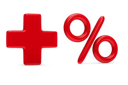 addition: Increase percent on white background. Isolated 3D image Stock Photo