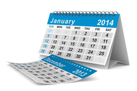 2014 year calendar. January. Isolated 3D image  Stock Photo