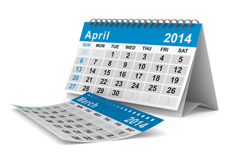 2014 year calendar. April. Isolated 3D image photo