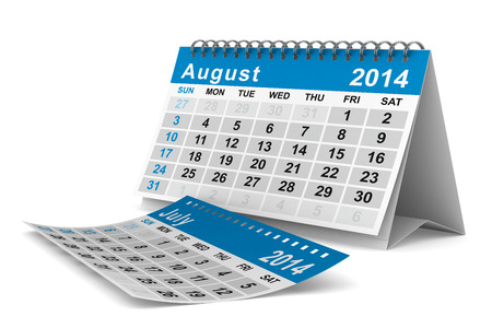 2014 year calendar. August. Isolated 3D image photo