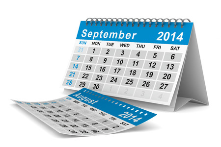 2014 year calendar. September. Isolated 3D image  photo