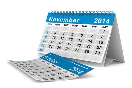 november 3d: 2014 year calendar. November. Isolated 3D image  Stock Photo