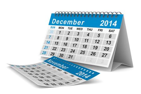 december: 2014 year calendar. December. Isolated 3D image  Stock Photo