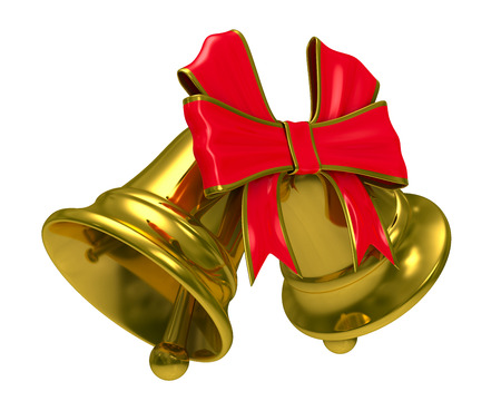 Two gold hand bell on white background. Isolated 3D image photo