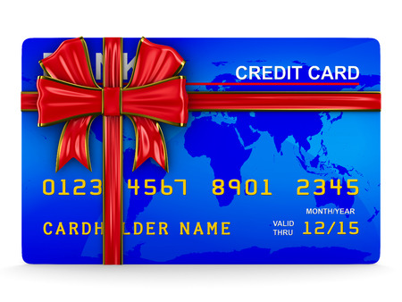 christmas debt: credit card on white. Isolated 3D image
