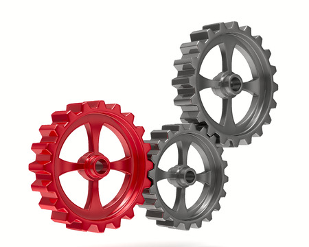 Three gears on white background. Isolated 3D image photo