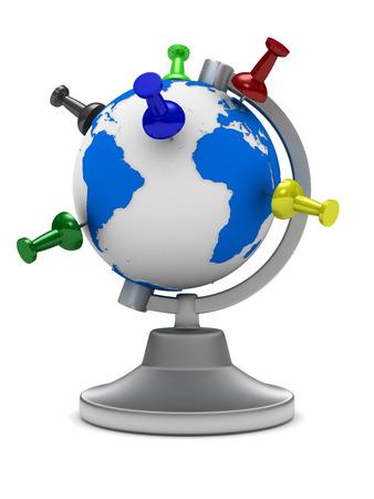 thumbtacked: globe on white background. Isolated 3D image