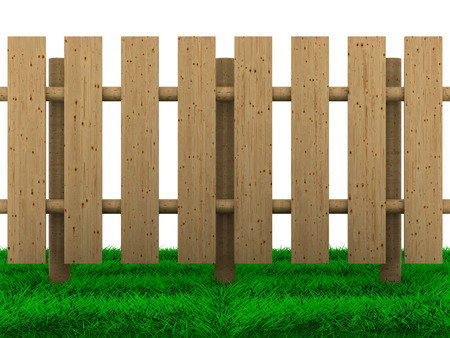wooden fence on white background. Isolated 3D image photo