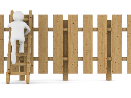 clambering: man climbs on ladder through fence. Isolated 3D image