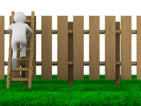 step ladder: man climbs on ladder through fence. Isolated 3D image