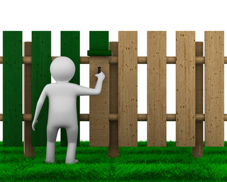 man paints fence on white background. Isolated 3D image photo