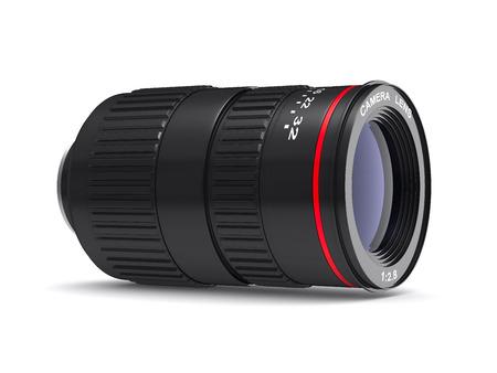 telephoto: Camera lens on white background. Isolated 3D image Stock Photo
