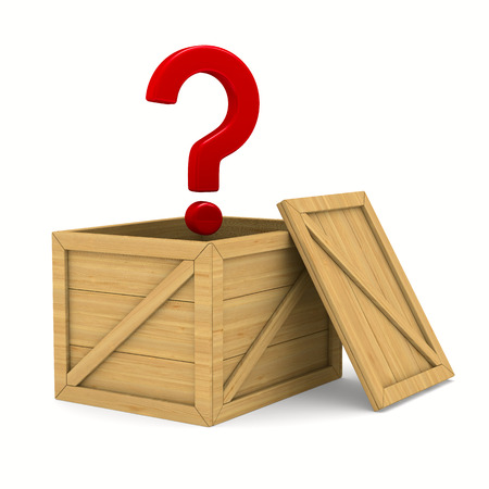 suspicious: empty wooden box and question. Isolated 3D image
