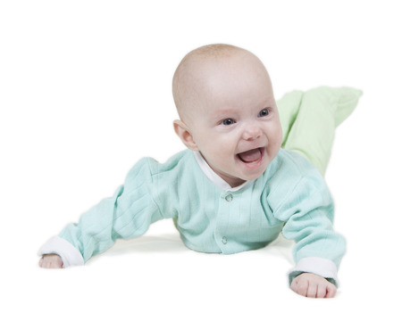 smiling baby on white background photo
