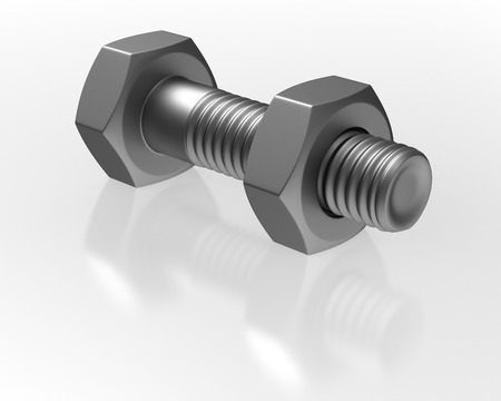 clincher: Bolt and nut on white background. Isolated 3D image
