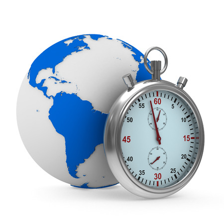 Stopwatch and globe on white background. Isolated 3D image photo