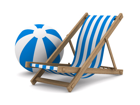 deckchair: Deckchair and ball on white background. Isolated 3D image Stock Photo
