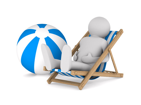Man on deckchair and ball on white background. Isolated 3D image photo