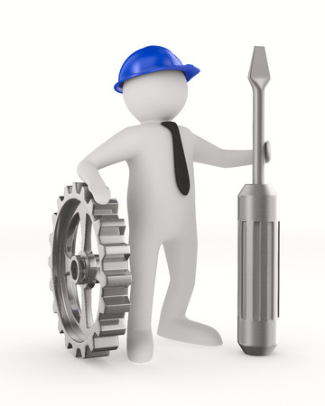 screw driver: Man with screw driver on white background. Isolated 3D image