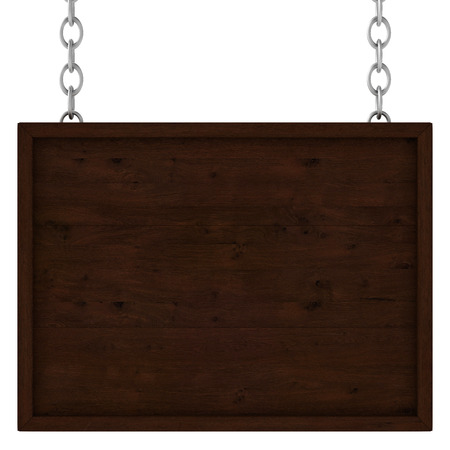 wooden plaque: wooden signboard on the chains. Isolated 3D image Stock Photo