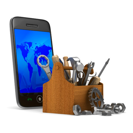 phone box: Phone service on white background. Isolated 3D image