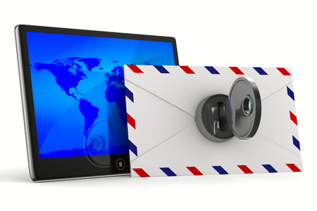 electronic mail: tablet and envelope on white background. Isolated 3D image Stock Photo