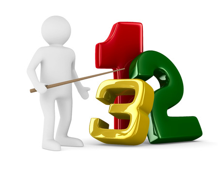 counting: Figures on white background. Isolated 3D image Stock Photo