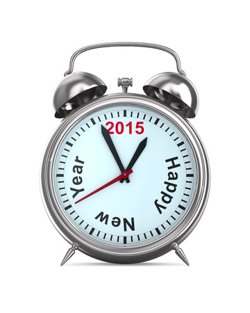 ringer: 2015 year on alarm clock. Isolated 3D image