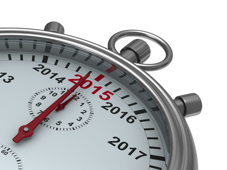 watch new year: year calendar on stopwatch. Isolated 3D image