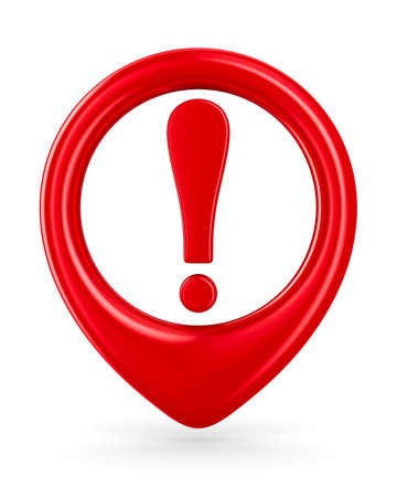 exclamation mark: Attention. traffic sign on white background. Isolated 3D image Stock Photo