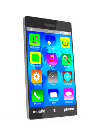 multitouch: phone on white background. Isolated 3D image