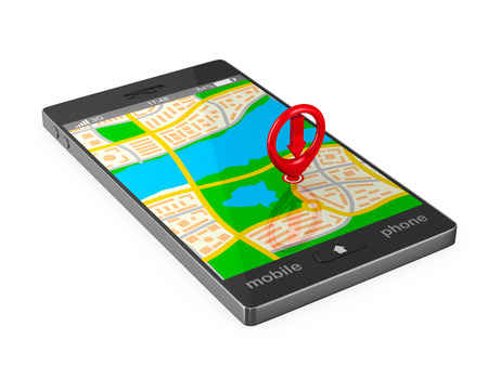 map icon: Navigation in phone. Isolated 3D image Stock Photo