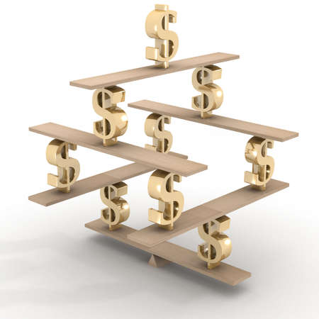 inclination: Financial balance. Stable equilibrium. 3D image.