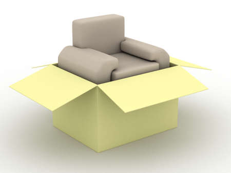 armchair shopping: leather armchair in a packing box. 3D image.