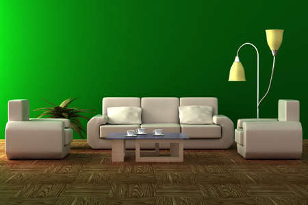 fixture: Interior of a living room. 3D image.