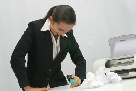 xerox: Business woman is  printing in office Stock Photo