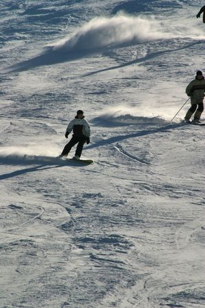 ski, hemel, lucht, helling, sneeuw, spar, boom, bomen, wit, winter