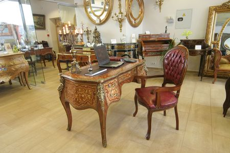 Differring beautiful old-time furniture and detail, antique, colonial, desk photo