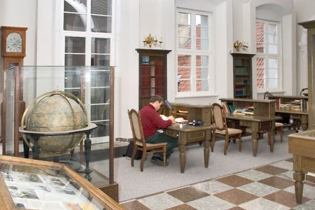 bibliophile: Old-time interior of the university library Stock Photo