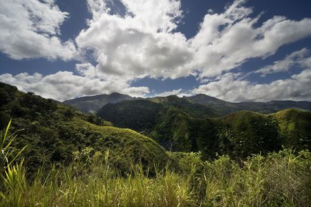 island Margarita, Venezuela, mountains, hills, meadow, skies, green, clouds Stock Photo