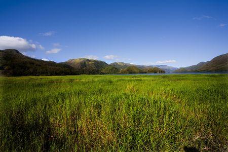 eiland Margarita, Venezuela, bergen, heuvels, weilanden, lucht, groen, wolken
