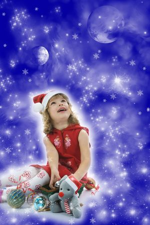 Beautiful little girl with christmas decoration on isolated background photo