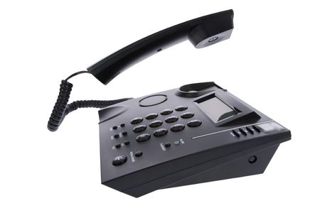 Business phone close up on white photo