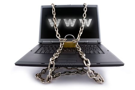 Laptop keyboard secured with chain and padlock photo